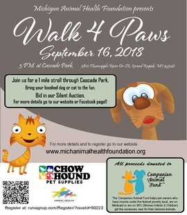Walk 4 Paws Scheduled for September 16, 2018 Image