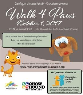 Register for the Walk 4 Paws Run/Walk on October 1, 2017!